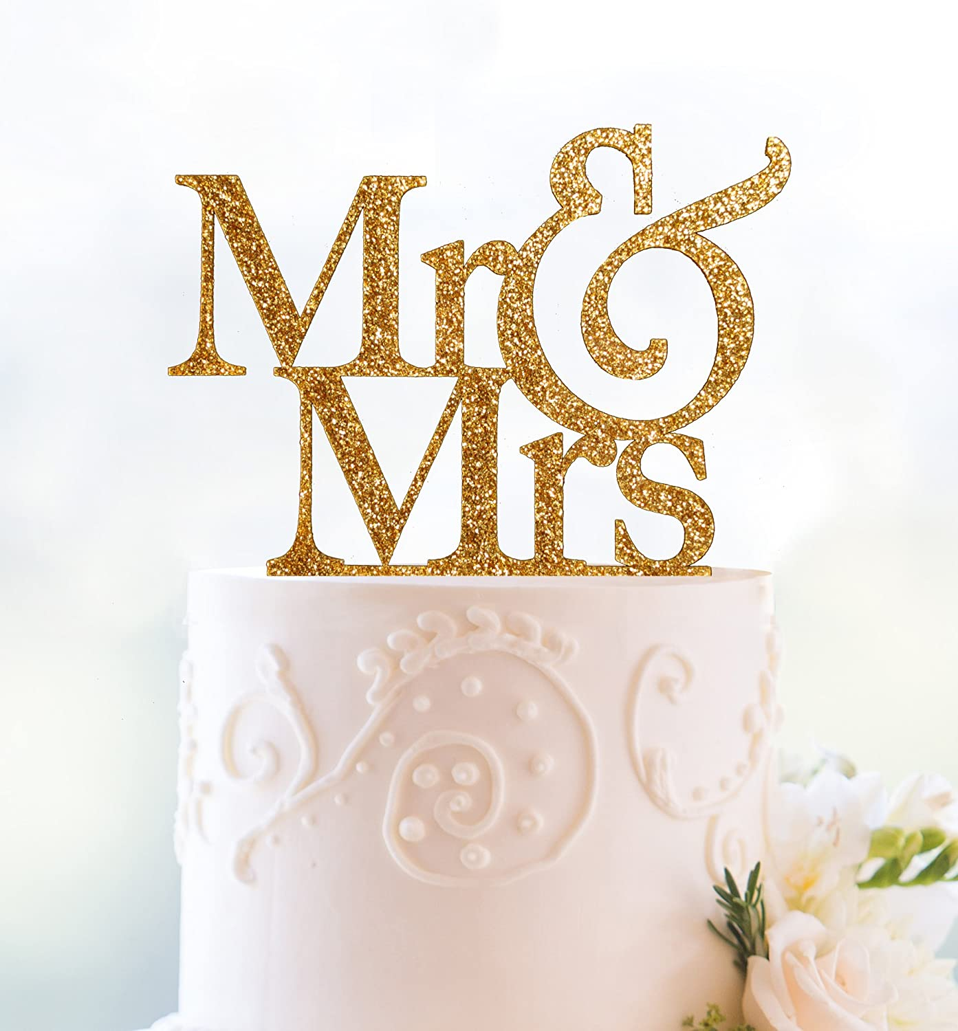 Amazon Gold Glitter Mr And Mrs Cake Topper Kitchen Dining