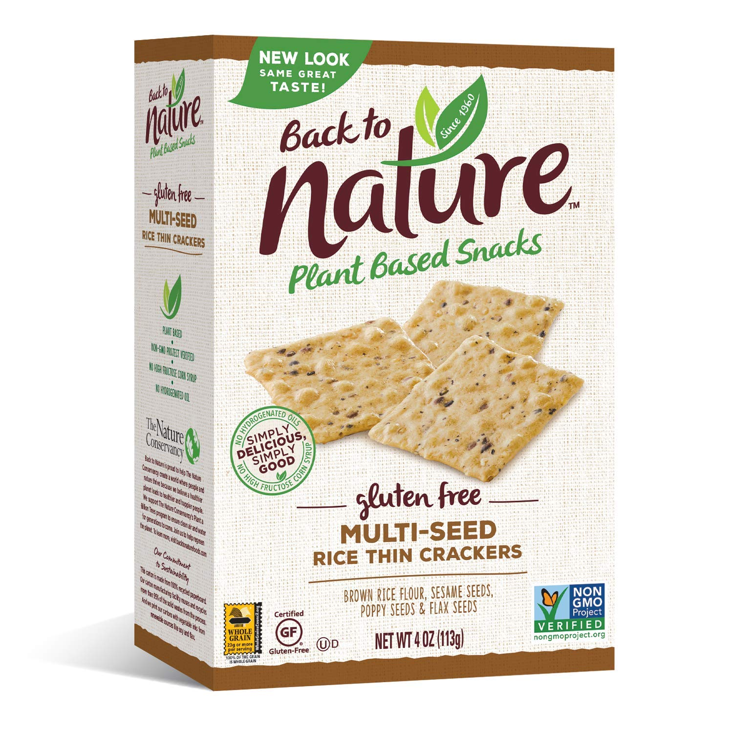 Back to Nature Gluten Free Crackers, Non-GMO Multi-Seed Rice Thins, 4 Ounce (Packaging May Vary)