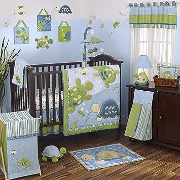 Amazon Com Cocalo Turtle Reef 8 Piece Crib Bedding Set Aqua Green