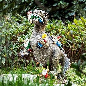 AKACIJA Garden Statues,Garden Gnomes Statues Outdoor Decor, Dinosaur Eating Gnomes Garden Sculptures & Statues for Patio,Lawn ,Yard Art Decoration , Housewarming Garden Gift,Garden Decor for Outside