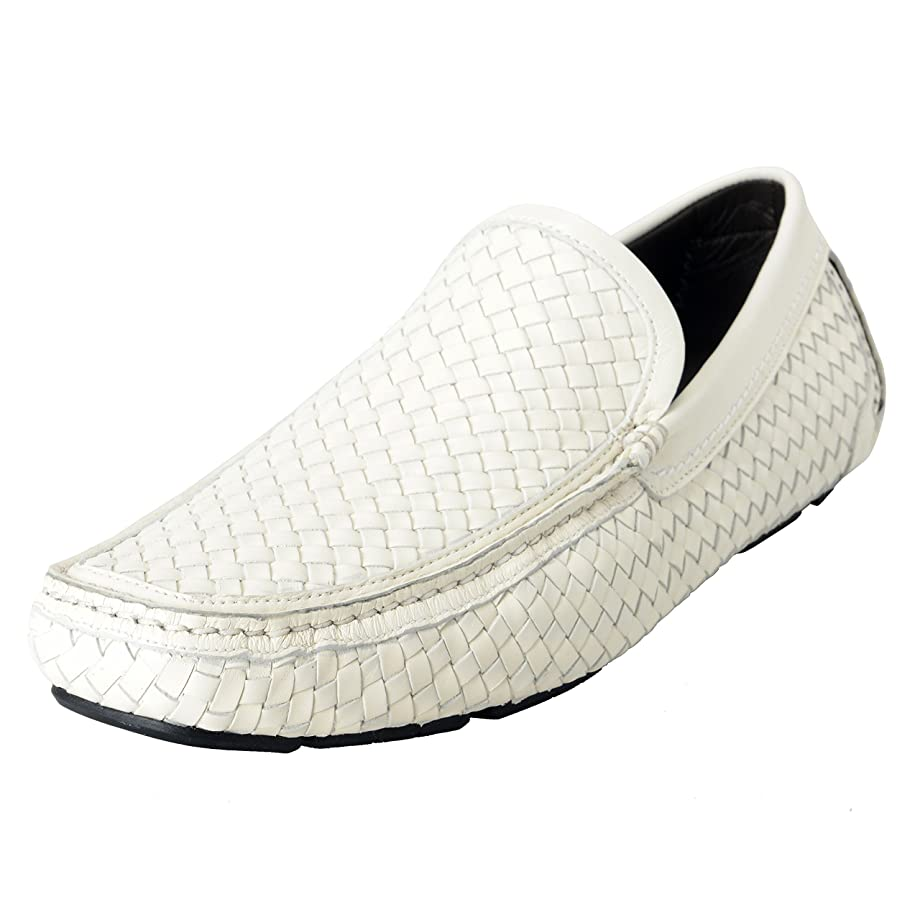 Pacifico Men's White Leather Loafers Moccasins Casual Shoes US 9.5EE IT 8.5EE EU 42.5EE