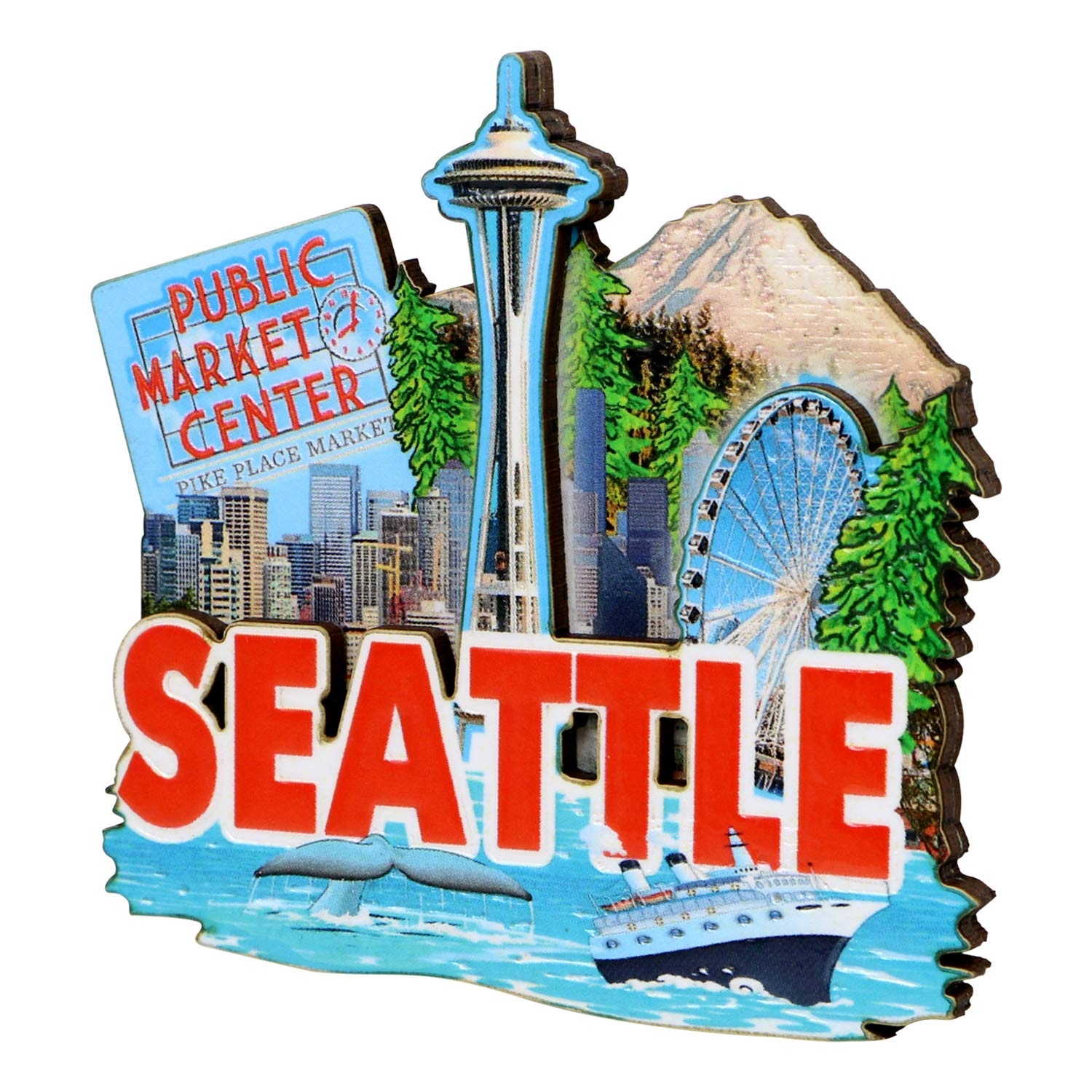 3D Seattle Magnet