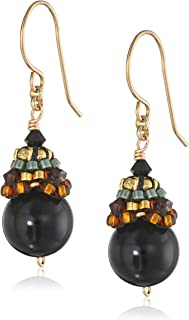 product image for Miguel Ases Onyx and 14k Gold Filled Ball Drop Earrings