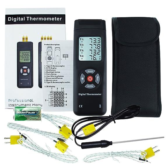 Termómetro de tipo K de 4 canales con termómetro digital de tipo K Metal y termómetro de sonda de talón Temperatura de retroiluminación Instrumento Rango de ...