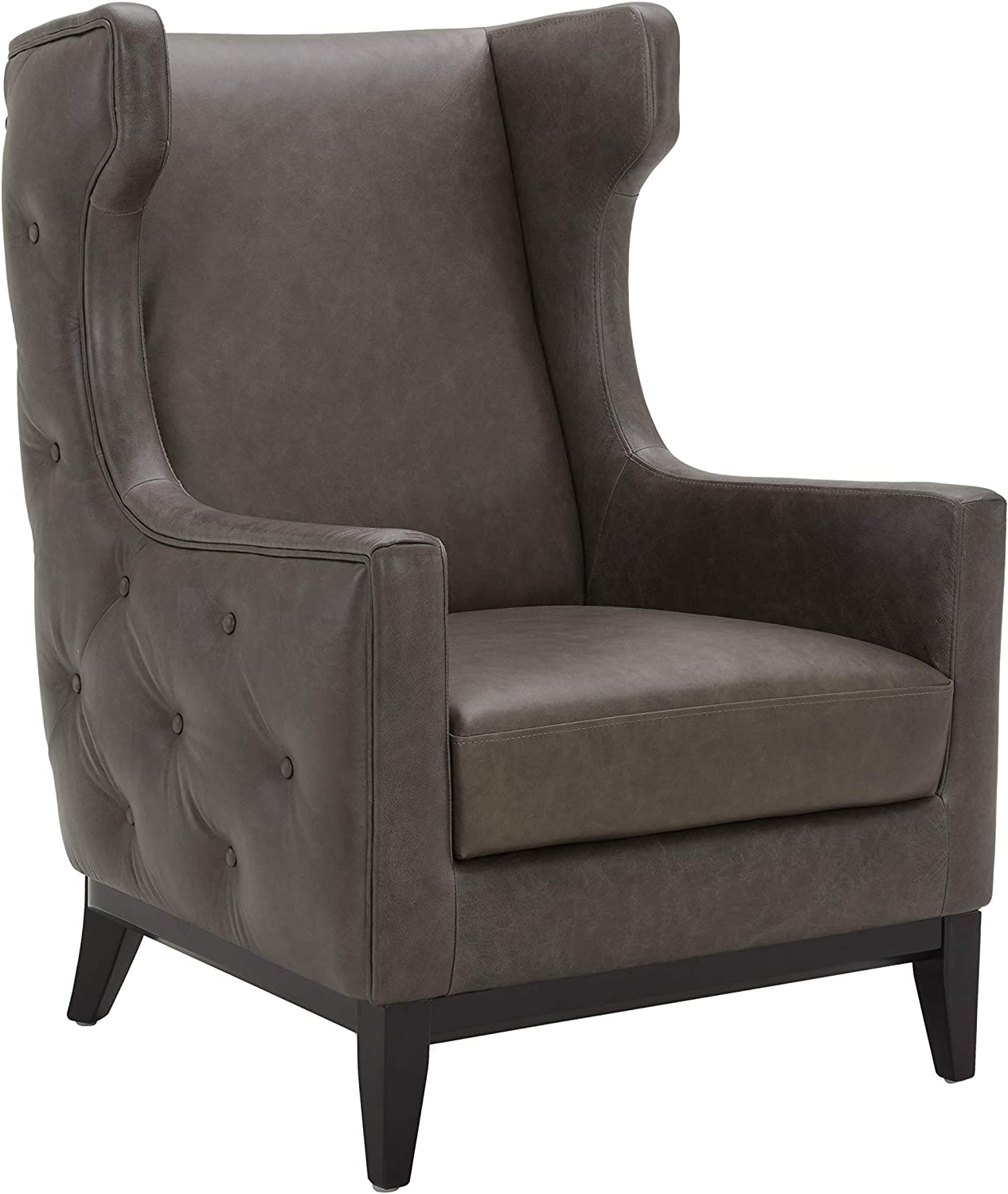 Amazon Brand – Stone & Beam Rosewood Button-Tufted Leather Wingback Accent Chair, 30
