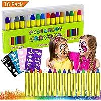 Pintura Facial, Buluri 16 Colores Face Paint Crayons Conjuntos de Pintura Corporal Faciales Seguros y no Tóxicos con 40 Plantillas,Perfectos para Carnaval,Santa, Navidad, Cosplay,Fiestas (16 Colors)