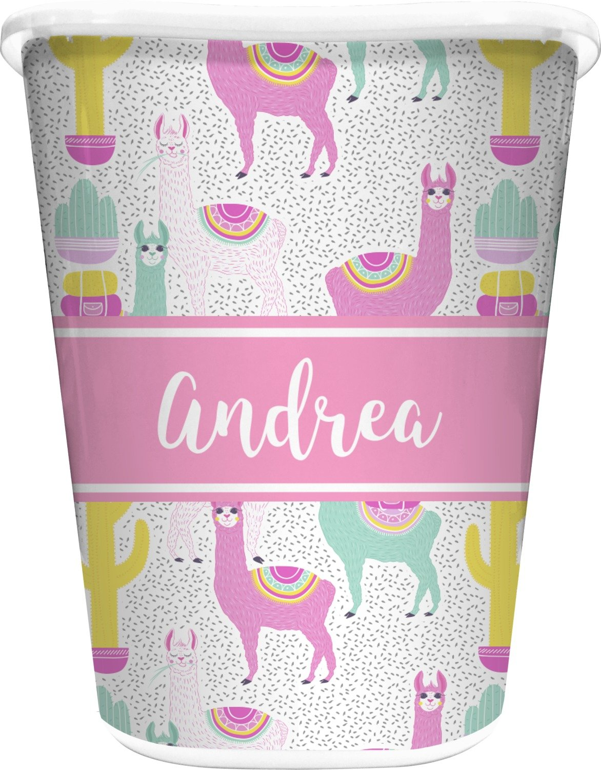RNK Shops Llamas Waste Basket - Single Sided (White) (Personalized)