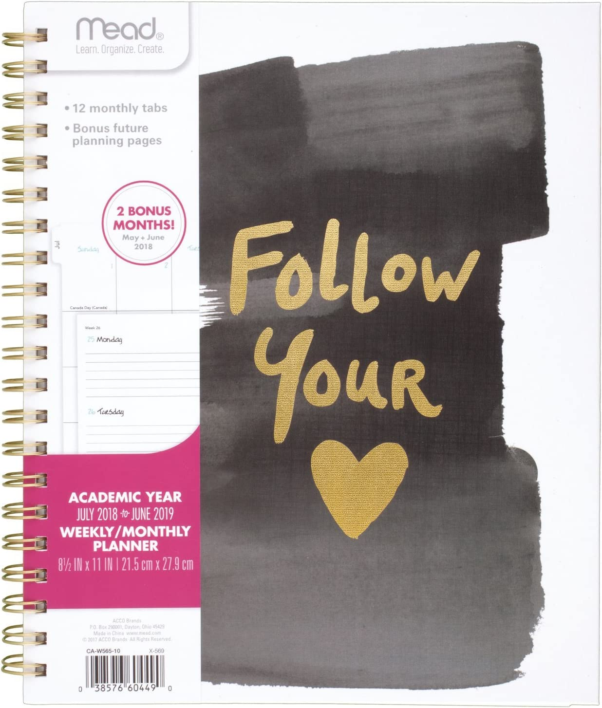 Large CAW56510 Hardcover Good Vibes Follow Your Heart Design Will Vary Wirebound 8-1//2 x 11 Mead 2018-2019 Academic Year Weekly /& Monthly Planner