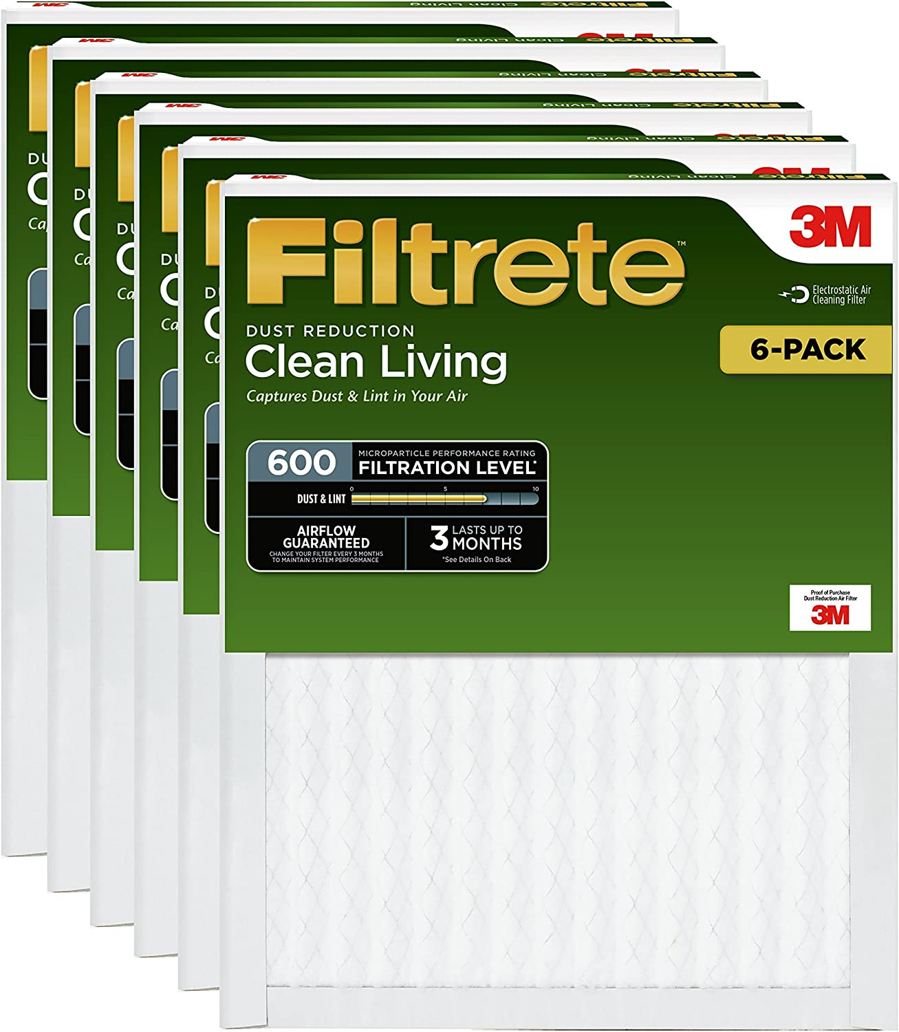 Filtrete Clean Living Dust Reduction AC Furnace Air Filter, MPR 600, 16 x 25 x 1-Inches, 6-pack