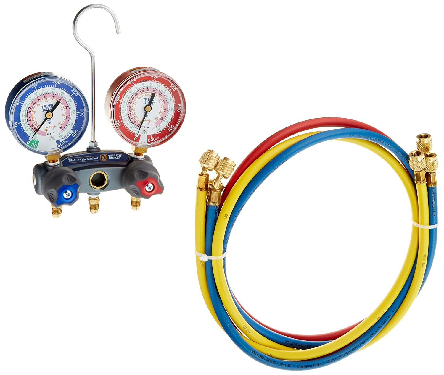Yellow Jacket 49867 Titan 2-Valve Test and Charging Manifold degrees F, psi Scale, R-22/404A/410A Refrigerant, Red/Blue Gauges Fotronic Corporation