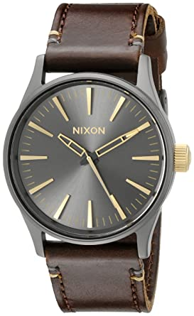 Nixon Sentry 38 Leather A377595-00. Gunmetal and Gold Men's Watch (38mm.