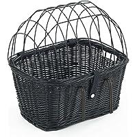 Tigana - Fahrradkorb aus Weide mit Gitter und Kissen für Lenker 45 cm - SCHWARZ (S-S)