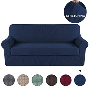 Amazon.com: Turquoize 2 Pieces Sofa Slipcover Navy Couch Covers ...