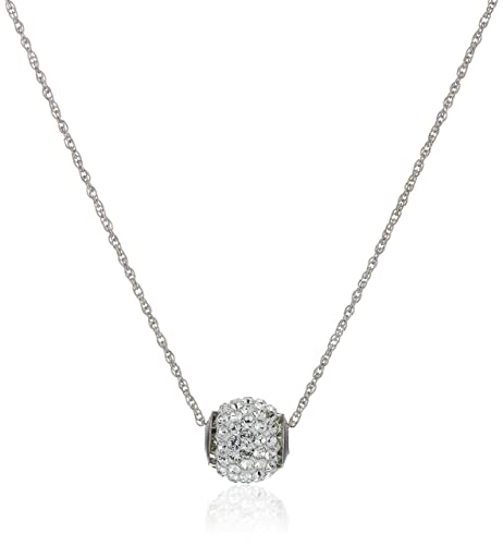 0d6c6d593 10K White Gold Swarovski Crystals Slide Ball Pendant Necklace with Gold  Filled Chain, 18