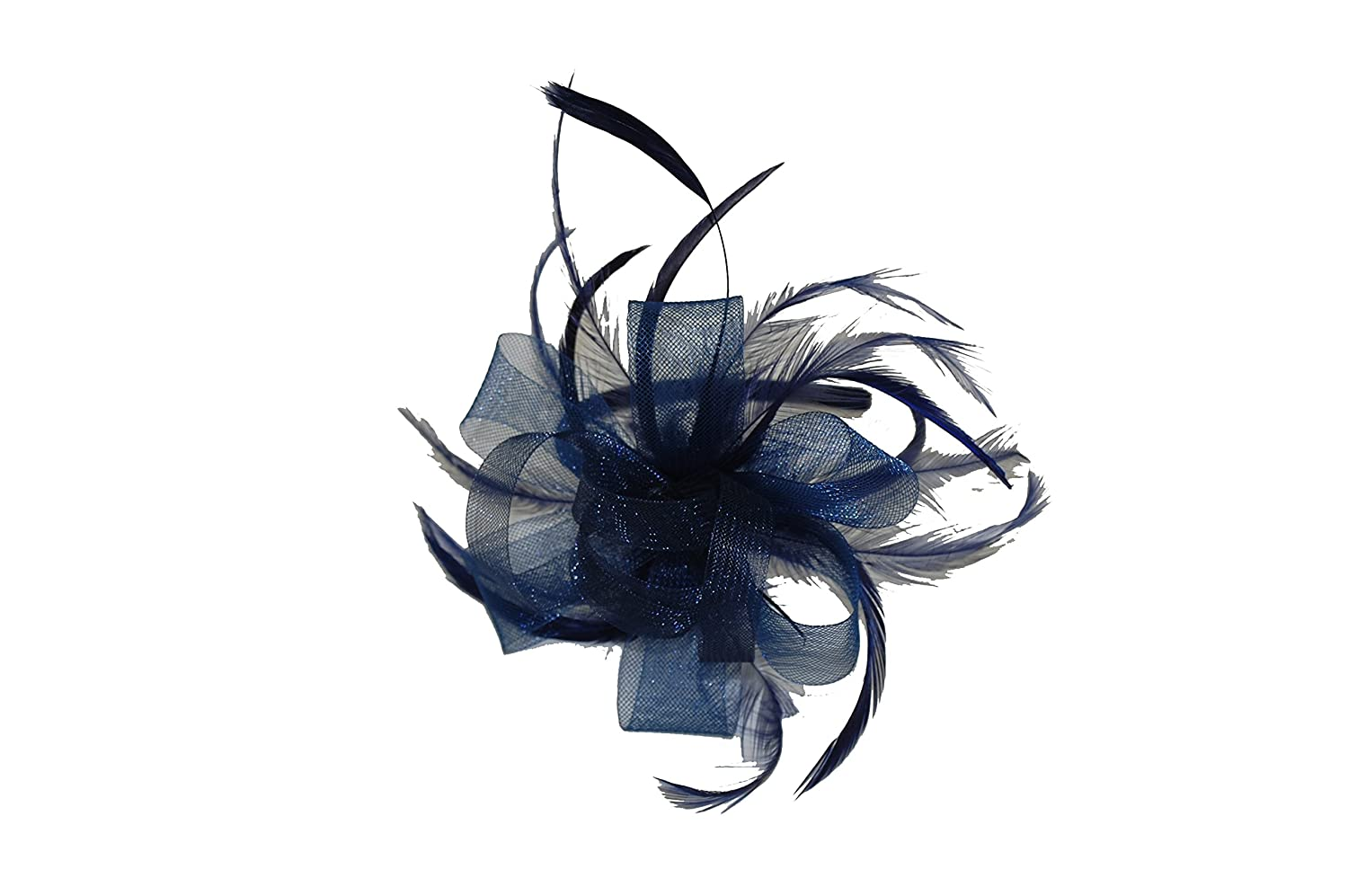 37ad60393d8c6 GIZZY® Ladies Navy Blue Crin Net Loops Fascinator with Feathers Set on  Headband: Amazon.co.uk: Clothing