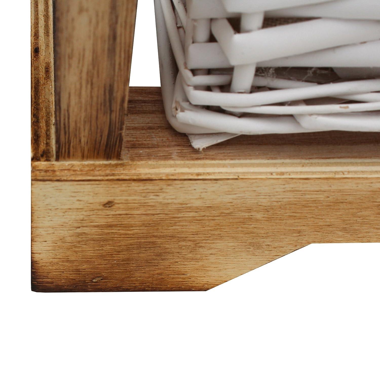 Misure: 43 x 30 x 30 cm - Art RE6104 Legno e Vimini Stile Natural Rebecca Mobili Comodino Piccolo HxLxP cassettiera 2 cassetti Decorazione casa