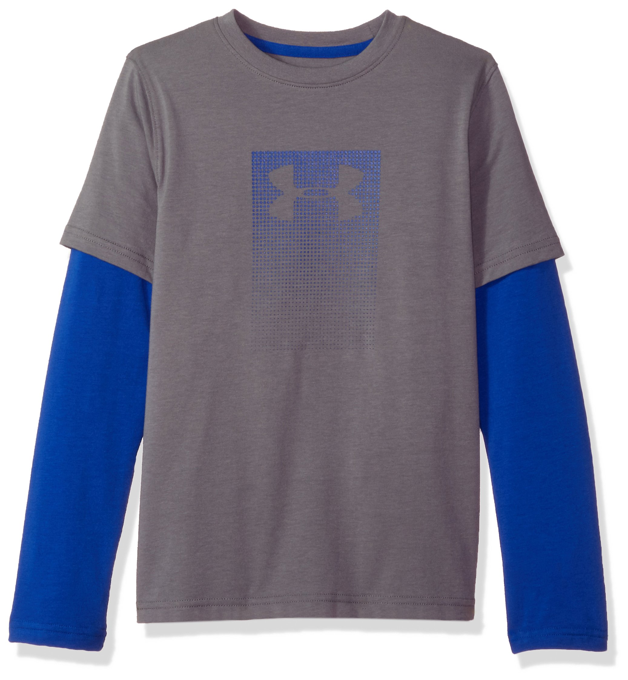 Under Armour Boys' Knit 2-in-1 Long Sleeve Shirt, Graphite (040)/Royal, Youth Large by Under Armour (Image #1)