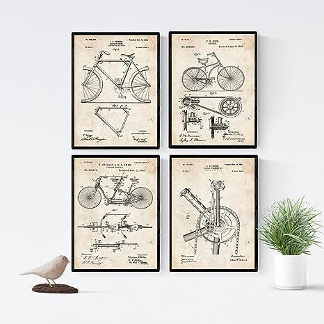 Nacnic Azul - Pack de 4 láminas con Patentes de Bicicletas 2. Set ...