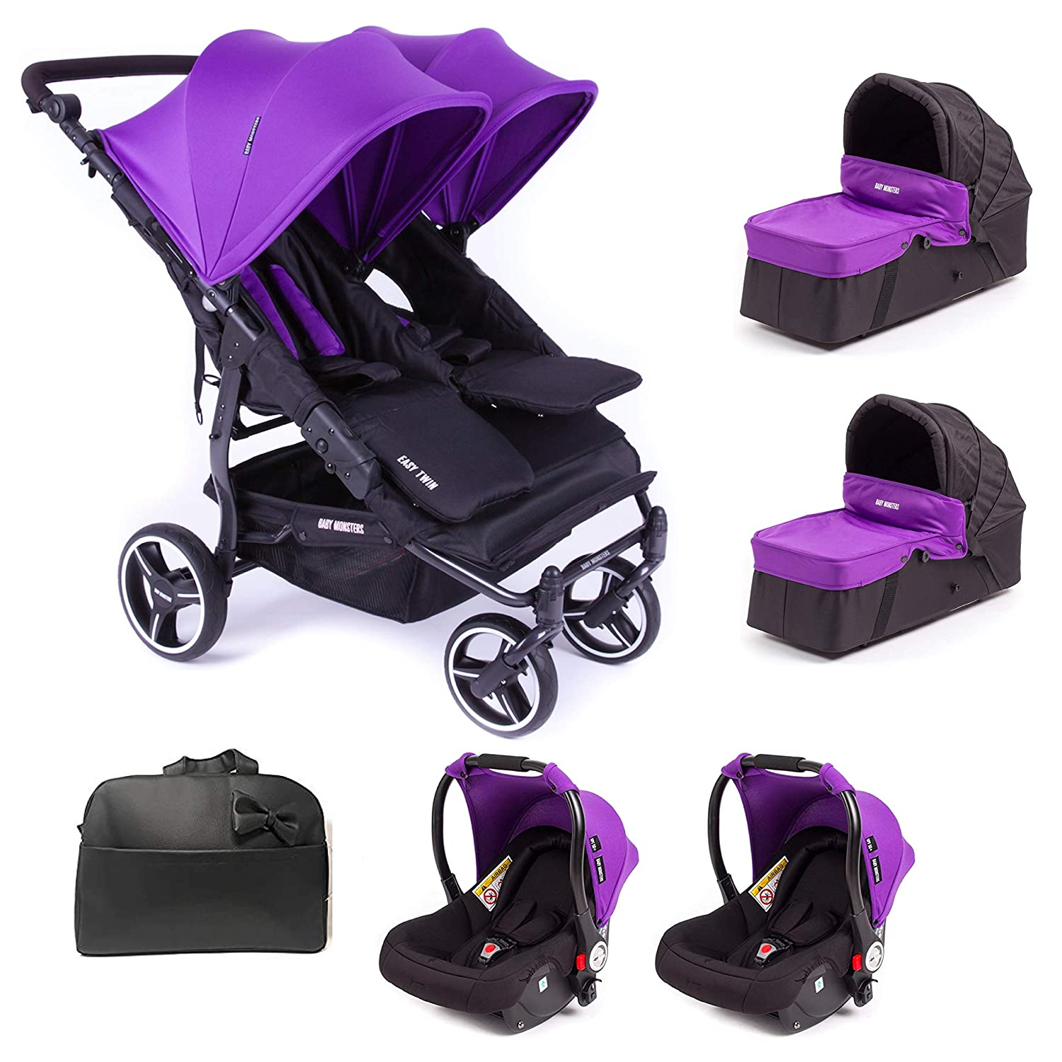 Baby Monsters Silla Gemelar Easy twin 3.0.S + 2 Capazos + 2 Grupo 0+ Regalo 2 adaptadores + Regalo Bolso - Danielstore (Purple): Amazon.es: Bebé