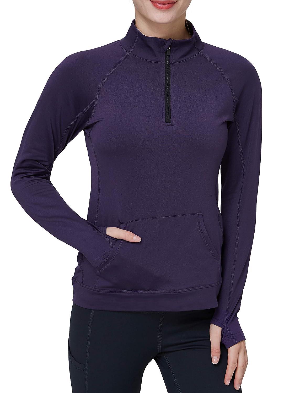 Westkun Ladies 1/4 Zipper Sweatshirt Mit Fleece gefütterte Hemden Langarm Compression Track Yoga Workout Laufjacke Oberteile mit Daumenlöchern
