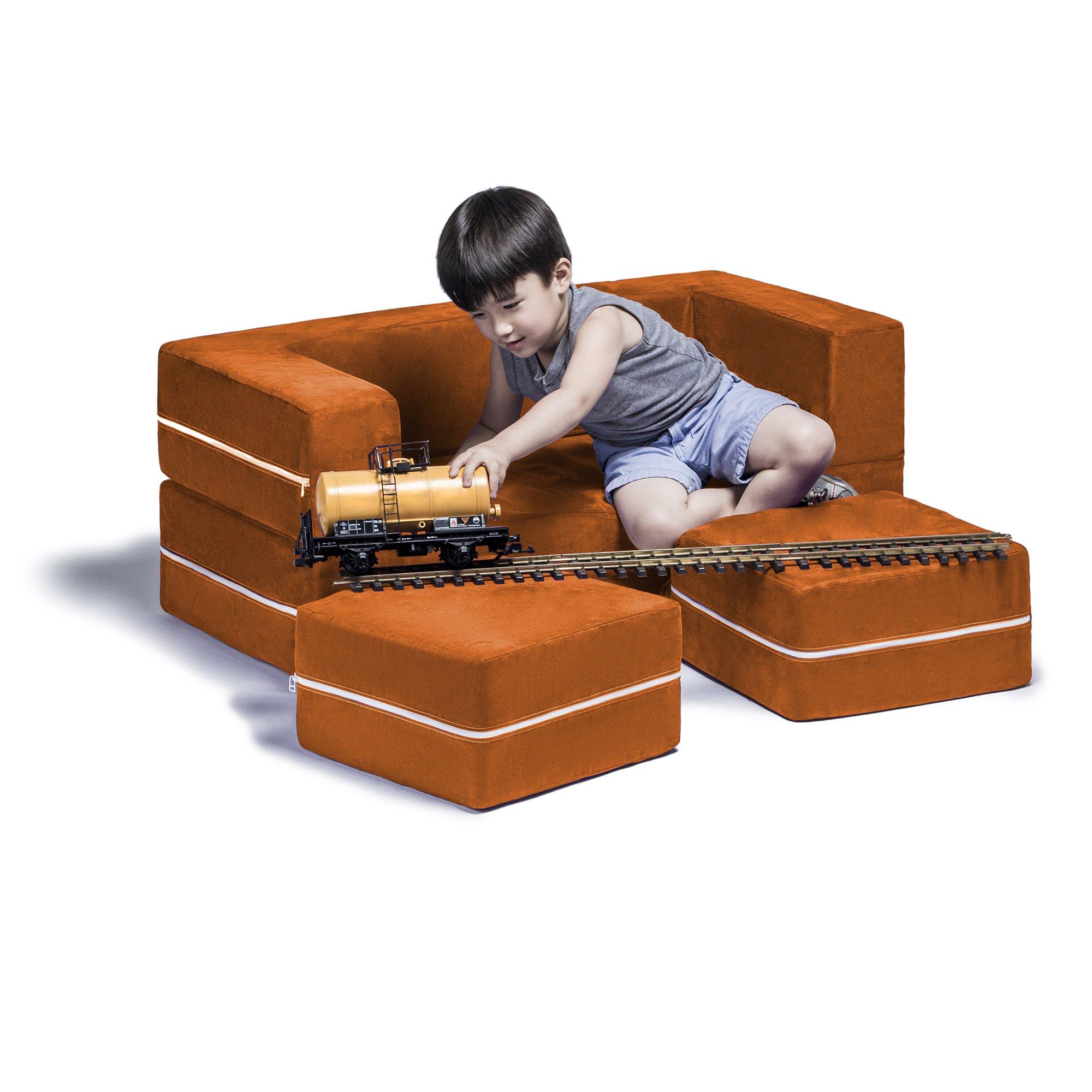 Jaxx Zipline Kids Modular Sofa & Ottomans / Fold Out Lounger, Mandarin