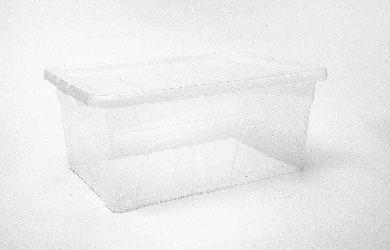 Home Storage King - Cajas de almacenamiento de plástico grandes de 50 L con tapas transparentes, paquete de 3 unidades, transparentes con tapas negras, perfectas para el hogar, la oficina y el garaje