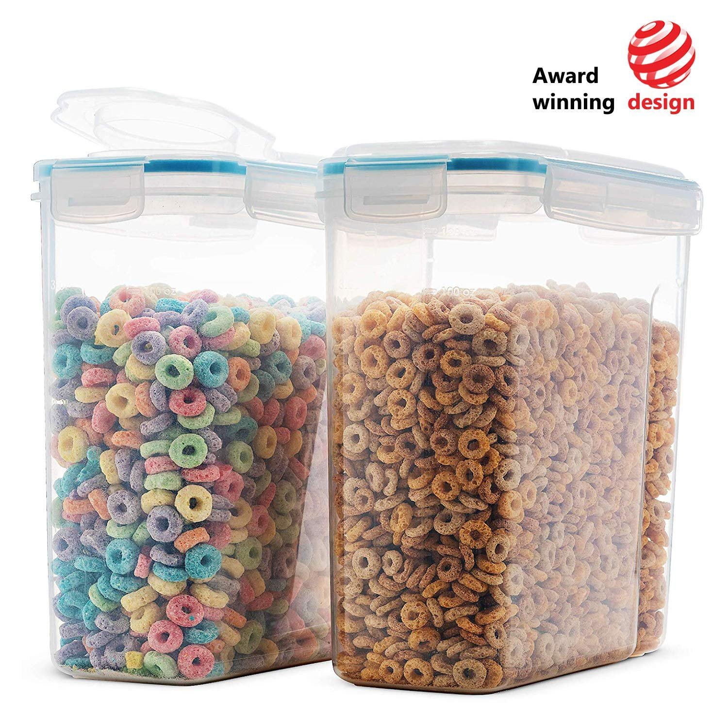 Komax Biokips Original Airtight Cereal Container (2 Pack) | 16 9 Cups 135  Ounce | Airtight Food Storage Containers - BPA-Free Cereal Dispenser |