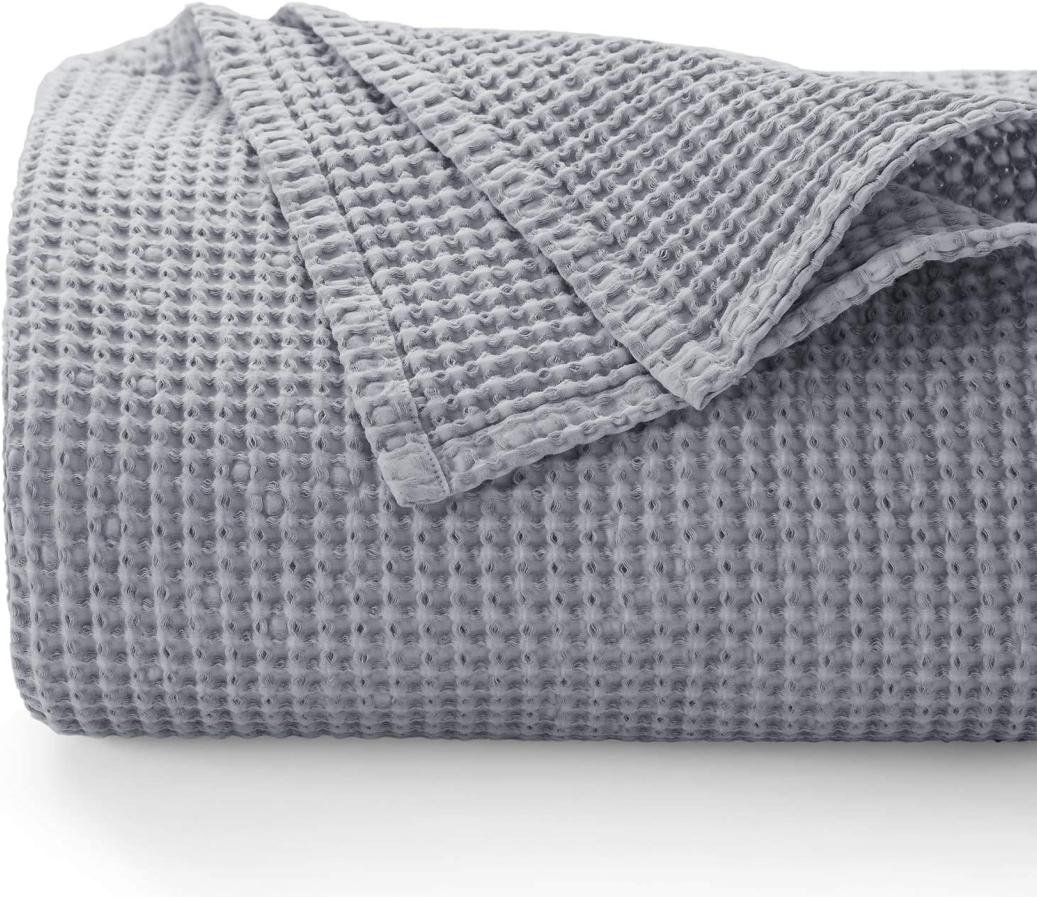 Bedsure 100% Cotton Blanket - Blanket with Waffle Pattern for Home Decoration - Perfect for Layering Any Bed for All-Season - Queen Size (90 x 90 inches), Grey