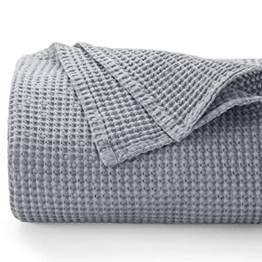 Bedsure 100% Cotton Blanket - Stone-Washed Bed Blanket with Waffle Pattern for Home Decoration - Perfect for Layering Any Bed for All-Season - King Size (104 x 90 inches), Grey