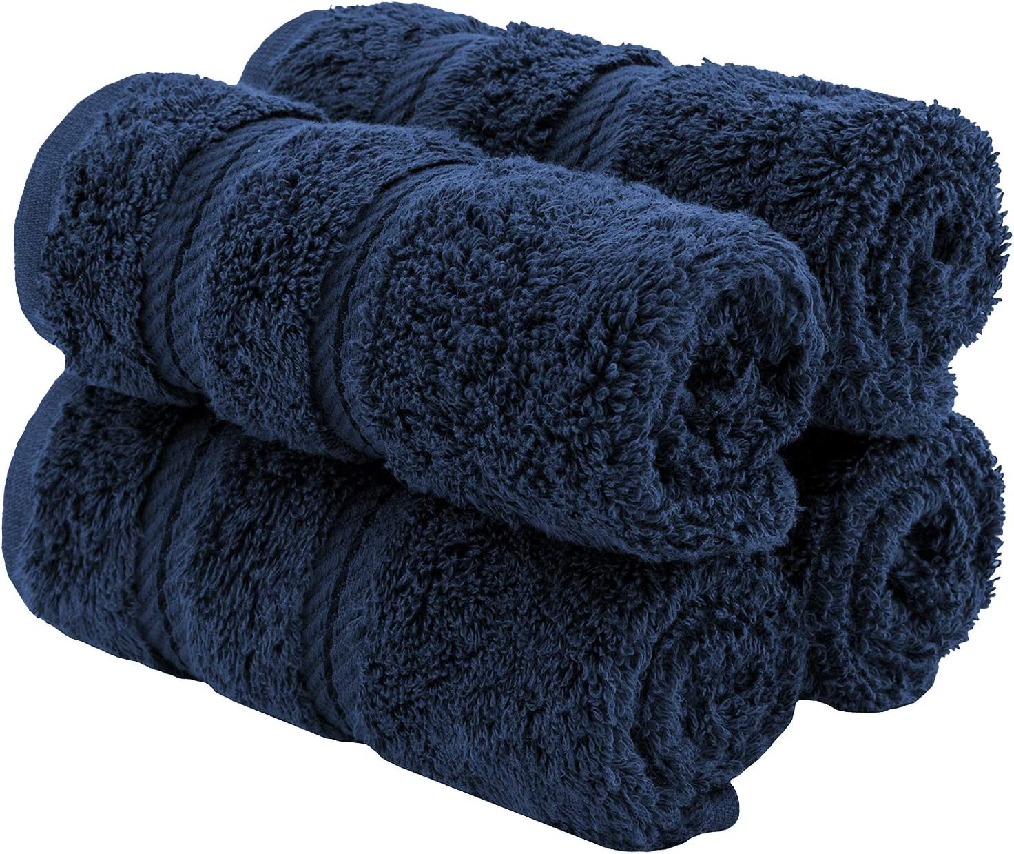 American Soft Linen Premium Turkish Genuine Cotton, Luxury Hotel Quality for Maximum Softness & Absorbency for Face, Hand, Kitchen & Cleaning (4-Piece Washcloth Set, Navy Blue)
