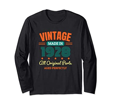 4d66a42f9 Unisex 90th Birthday Vintage Made In 1928 Long Sleeve T-Shirt Gift Small  Black