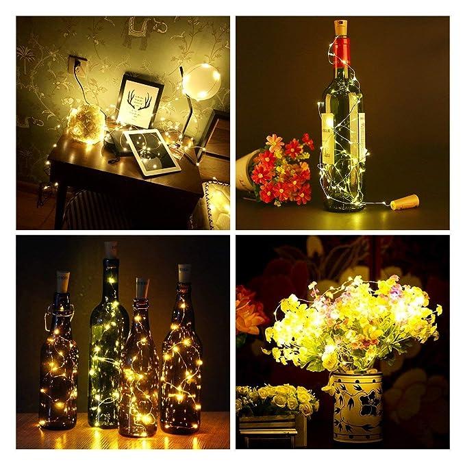 10 PCS 2m Corcho Micro Luces LED para Botella de Vino, Luz de la Secuencia del Alambre de Cobre del Corcho,Lámpara DIY Boda Regalo o Noche Luces,Luz Botella ...