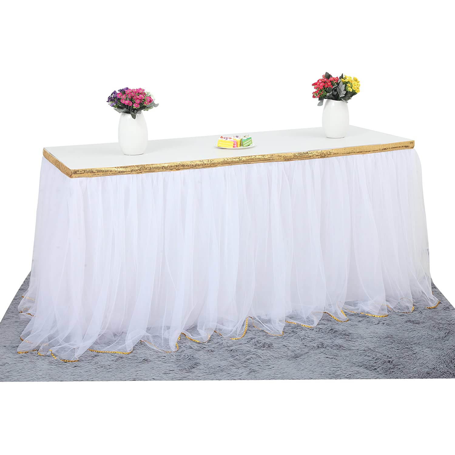 Pink, 2.7m Fulu Bro Fluffy 2 Layers Mesh Tutu Tulle Table Skirt with Bling Bling Gold Trim for Kitchen Dining Catering Wedding Birthday Party Decorations 2.7m, Pink