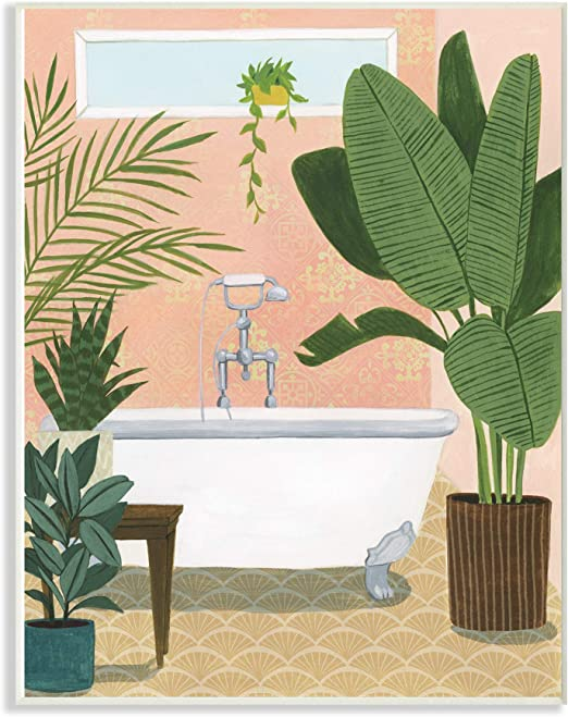 The Stupell Home Decor Peach Bathroom Oasis Scene with Fiddle Leaf Plants Stretched Canvas Wall Art 16 x 20 Multi-Color