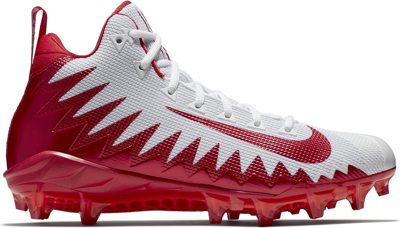 Nike Men's Alpha Menace Pro Mid Football Cleat White/University Red/Total  Crimson Size