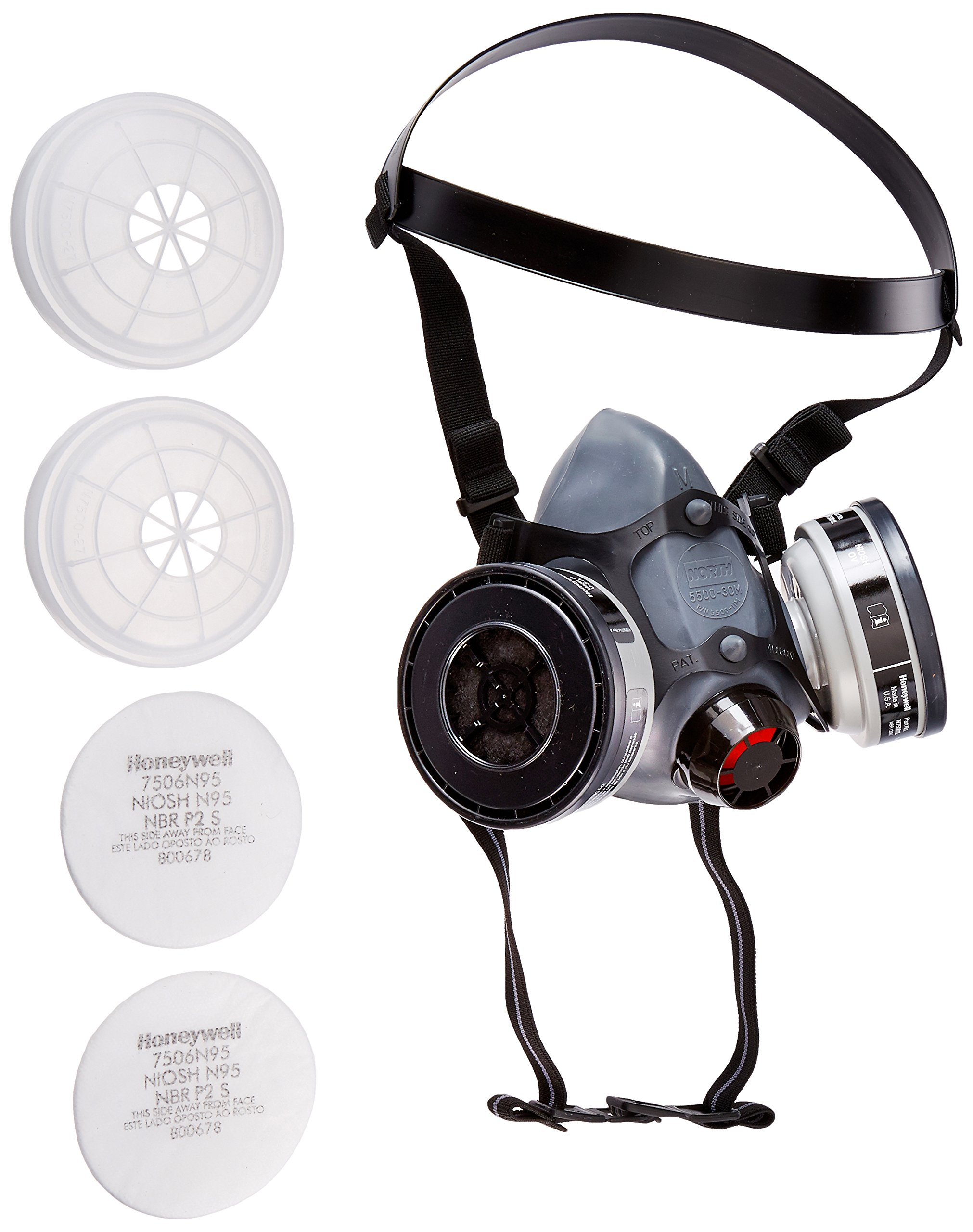 5500 Series Half Mask with 2 Organic Vapor Cartridges, 2 N95 Filters & 2 Filter Cover, Size Medium