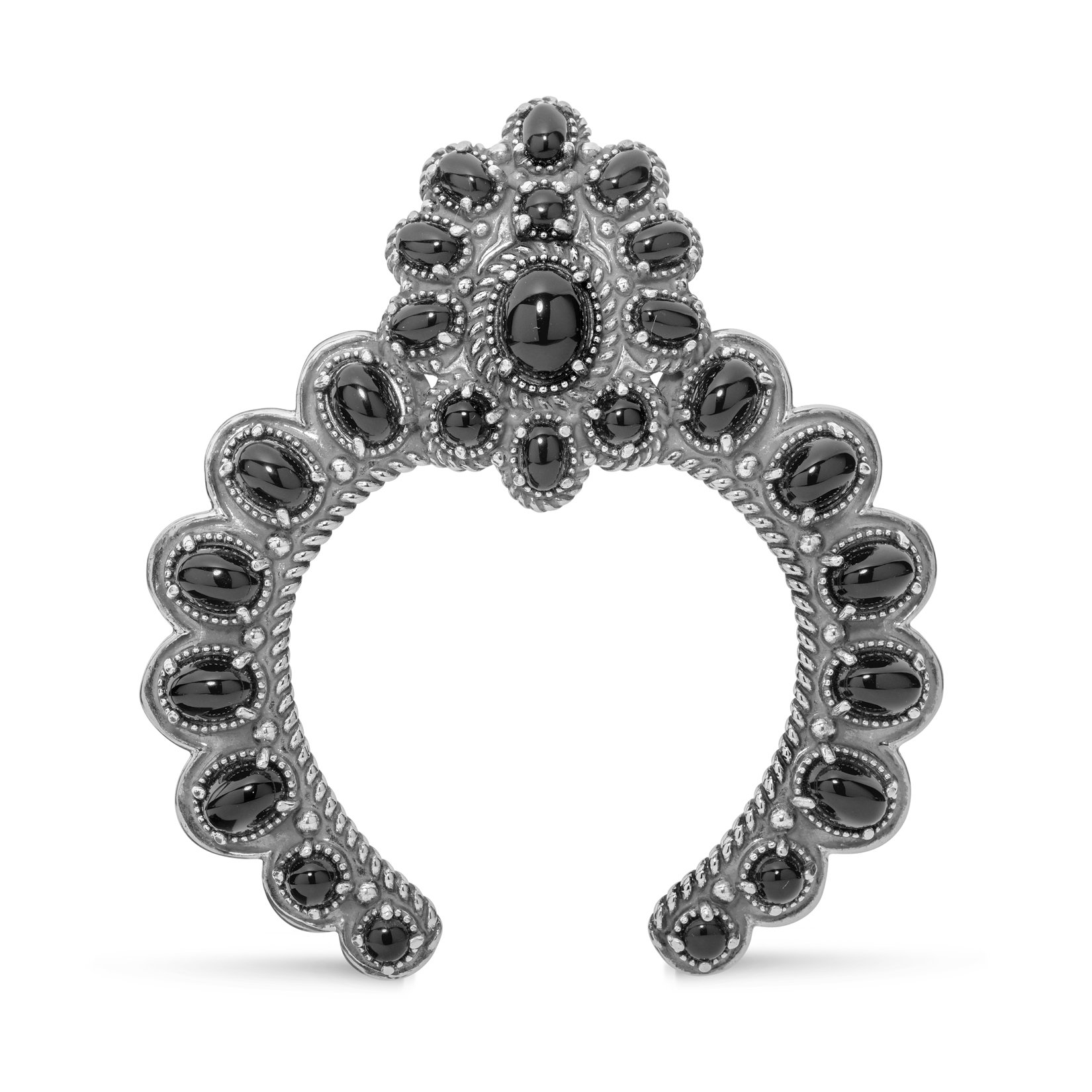 American West Sterling Silver Black Agate Gemstone Naja Pendant Enhancer by American West Jewelry