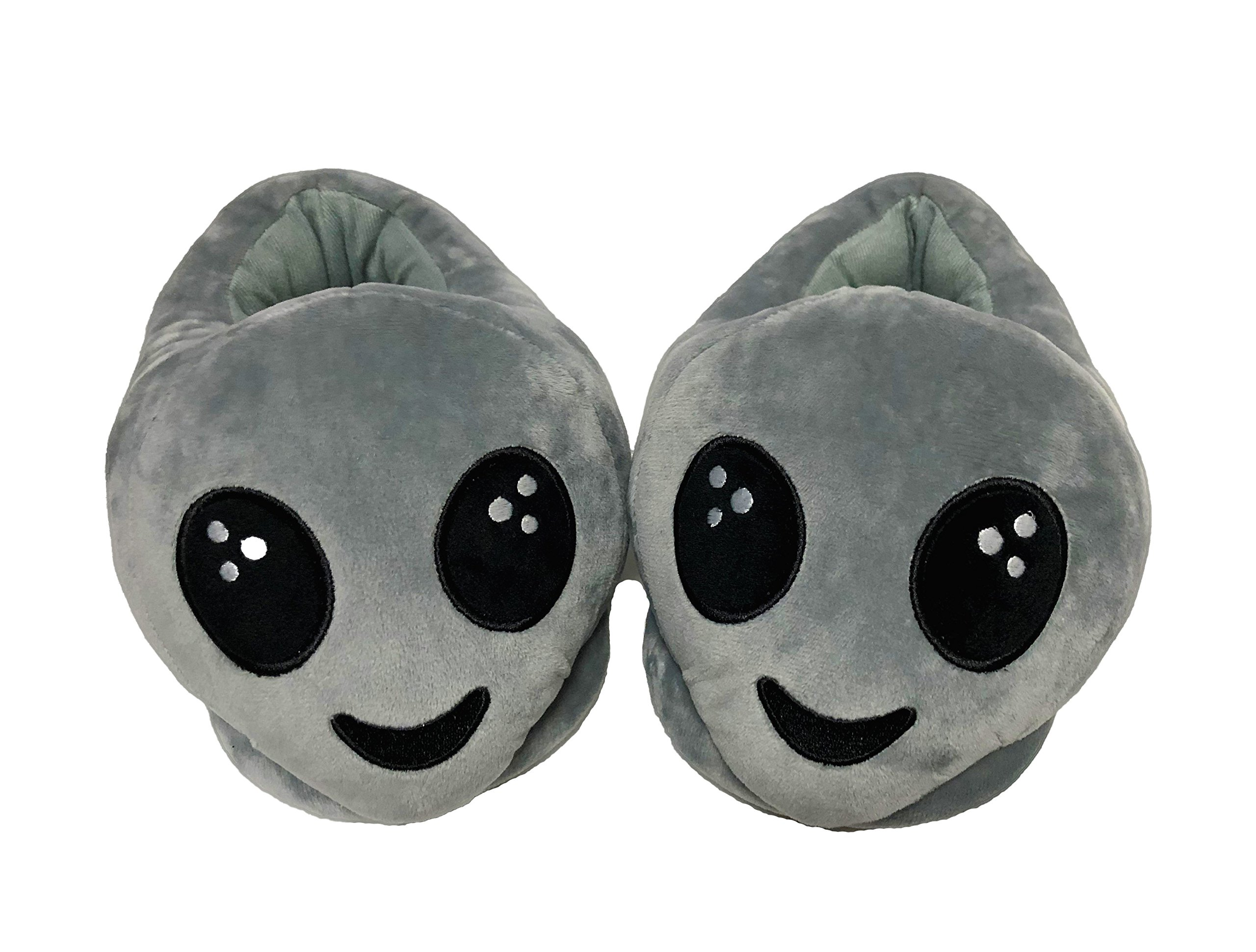 PLUSHERS Original Premium Quality Alien Emoji Slippers for Men and Women, 2 Sizes, Fits Mens Sizes 8-11.5 and Womens Sizes 5.5-7.5 (Womens)