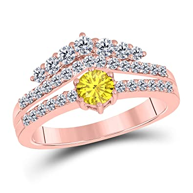 Amazon Com 1 50 Ct Round Cut Created Yellow Sapphire 14k Rose Gold