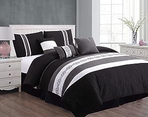 Unique Home 7 Piece Eva Black Patchwork Bed in a Bag Comforter Set, Black, Queen