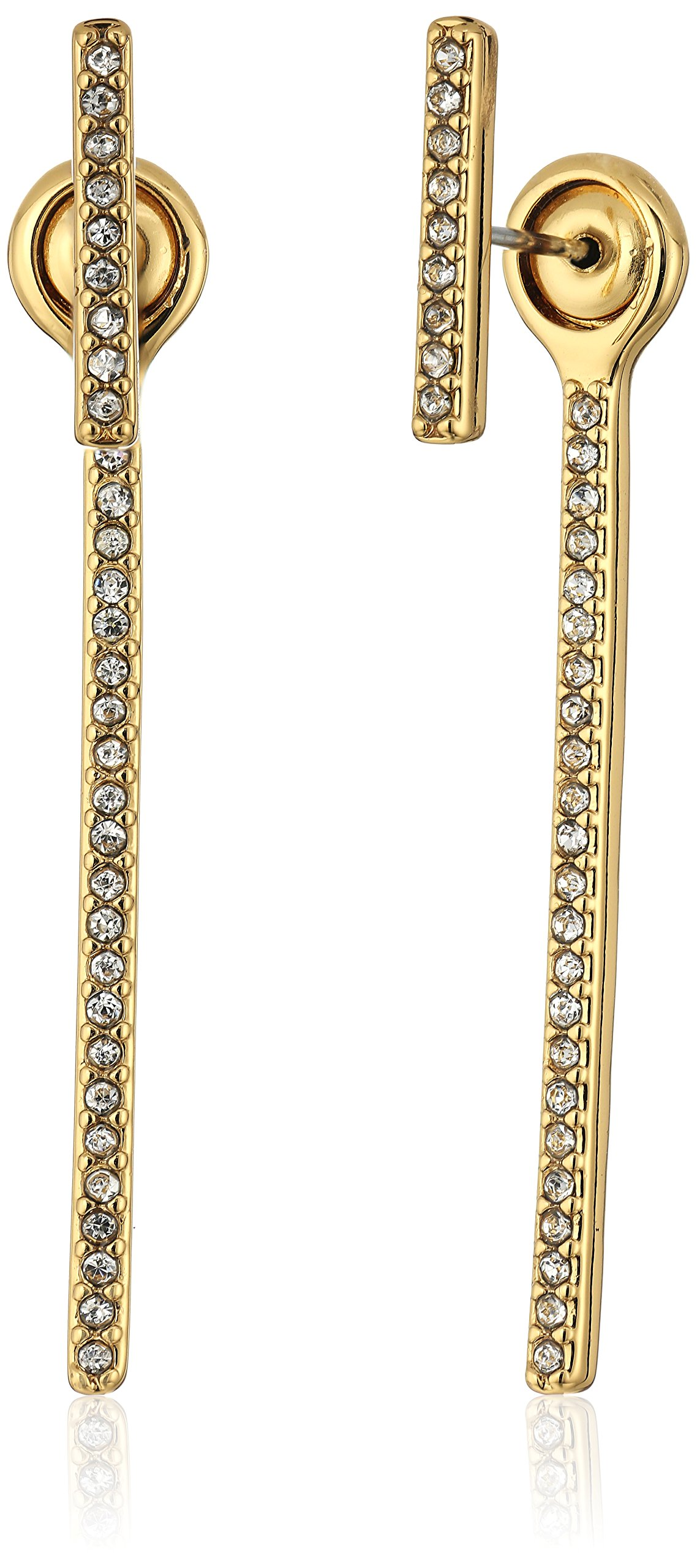 Rebecca Minkoff Pave Bar Front Gold Back Earrings Jackets