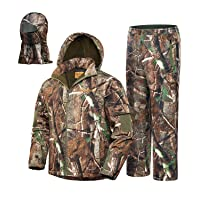 NEW VIEW 2020 Upgrade Hunting Clothes for Men,Silent Water Resistant Hunting Suits,Camo Hunting Camouflage Hooded Jacket,Hunting Pants
