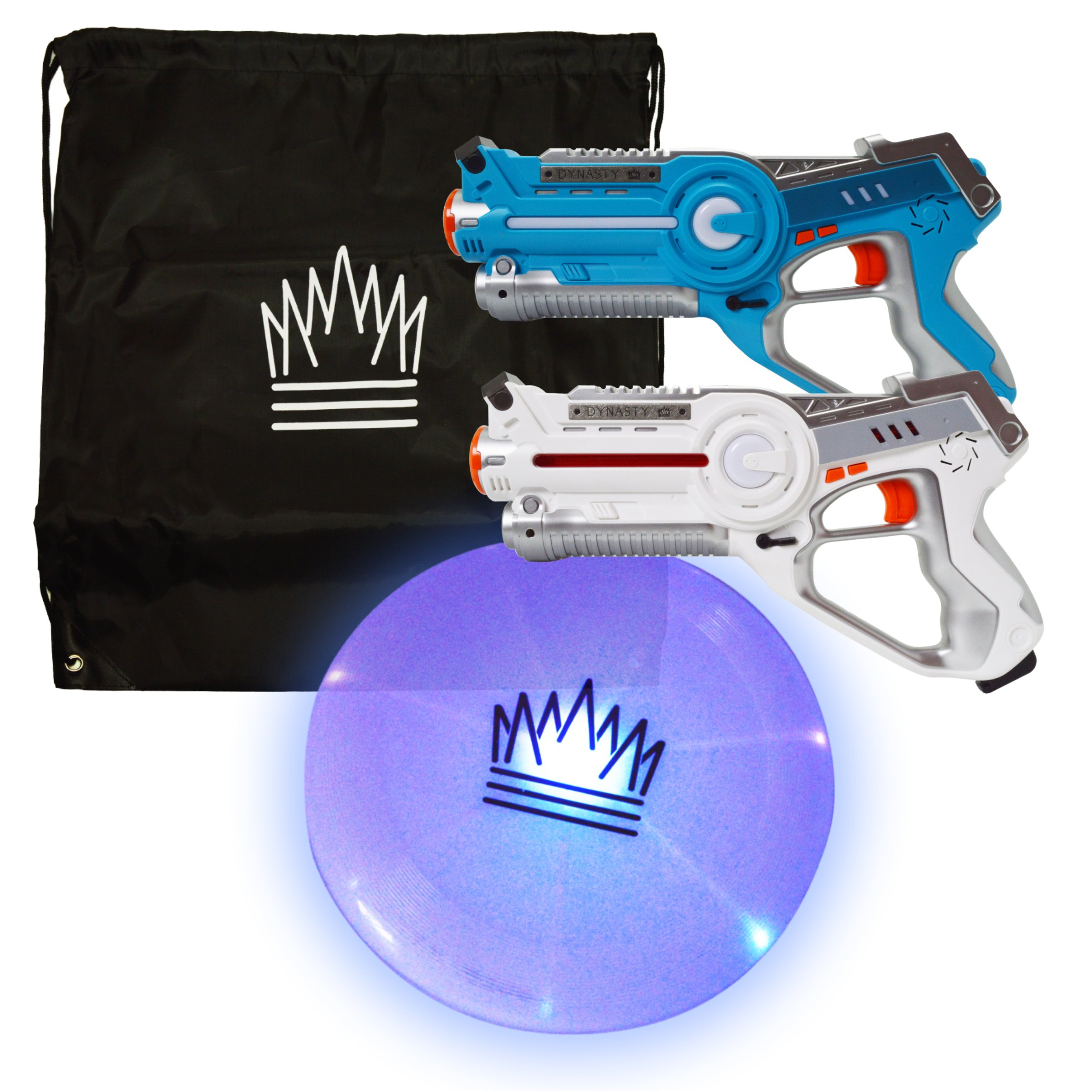 Dynasty Toys Outside Games Laser Tag and LED Ultimate Flying Disc Set With Drawstring Bag