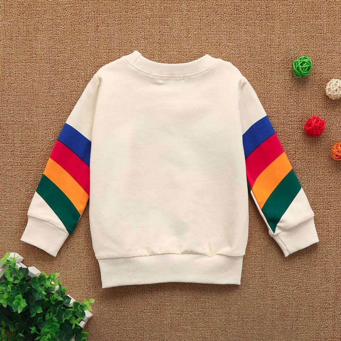 Yannerr Bebé niña nino Iris estampada cuello redondo camiseta tops sudadera vestido recién nacido manga larga blusa suéter chaqueta camisa falda mono partes ...