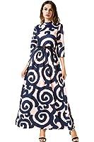 AMII Women's A-line 3/4 Sleeve Stand Neck Waist Ankle Length Dress with Belt