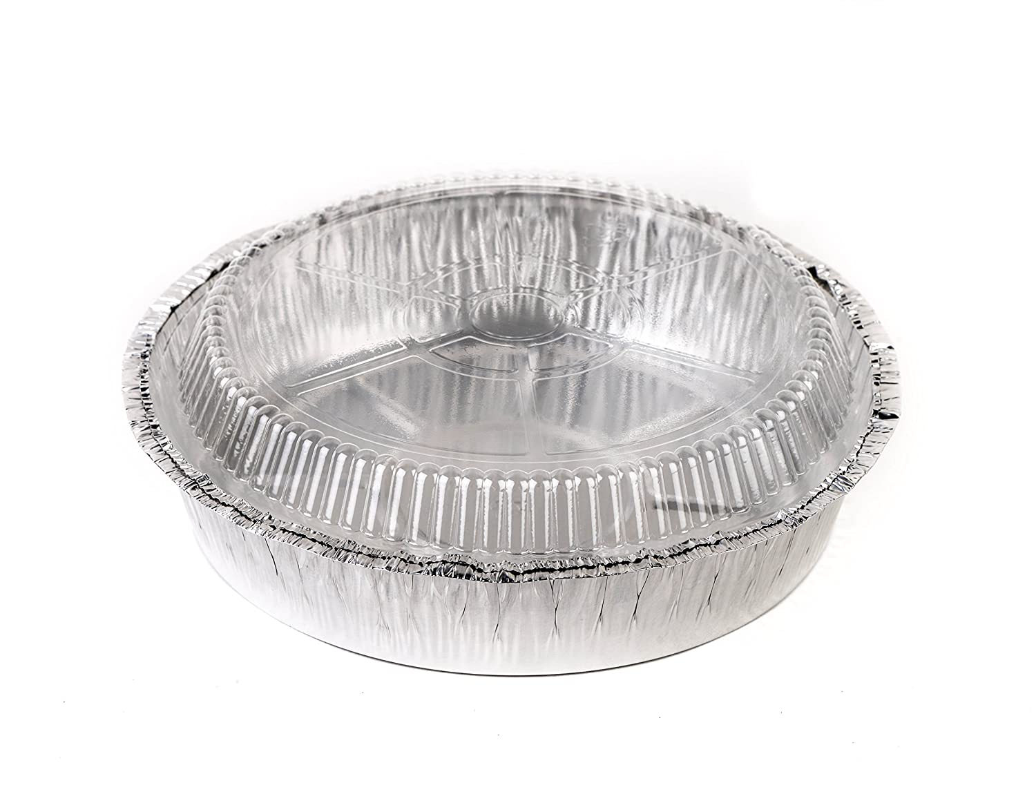 Cooking - 7 Inch Disposable Round Aluminum Foil Take-Out Pans with Plastic Lids Set Perfect for Baking Parties Restaurants by EcoQuality Catering 100 Pack Disposable Tin Containers