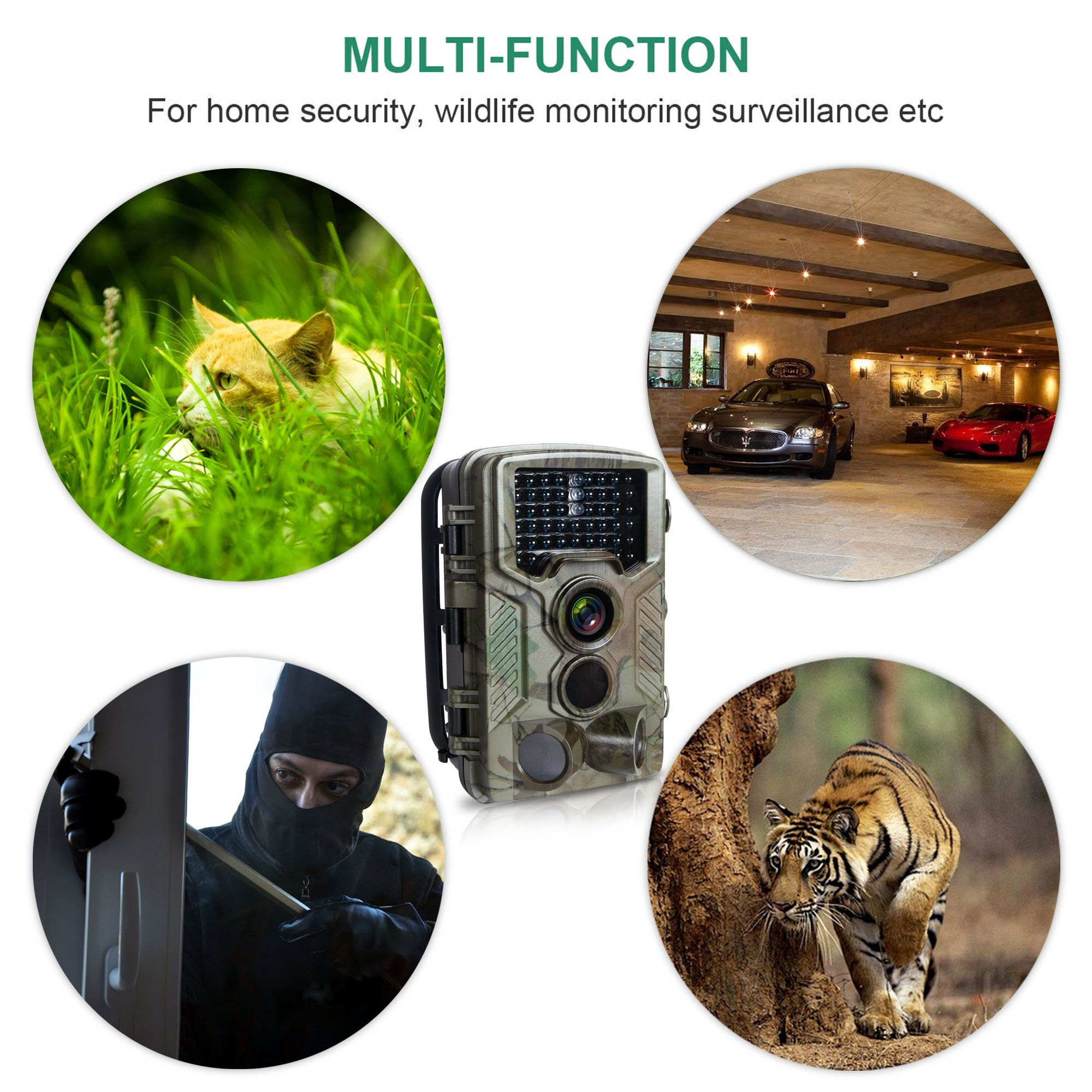 FLAGPOWER Hunting Trail Camera, 16MP 1080P 0.2s Trigger Time Wildlife Game Camera with 2.4'' LCD 850nm Upgrading IR LEDs Night Vision up to 75ft/2.3m IP56 Spray Water Protected Design by FLAGPOWER (Image #7)
