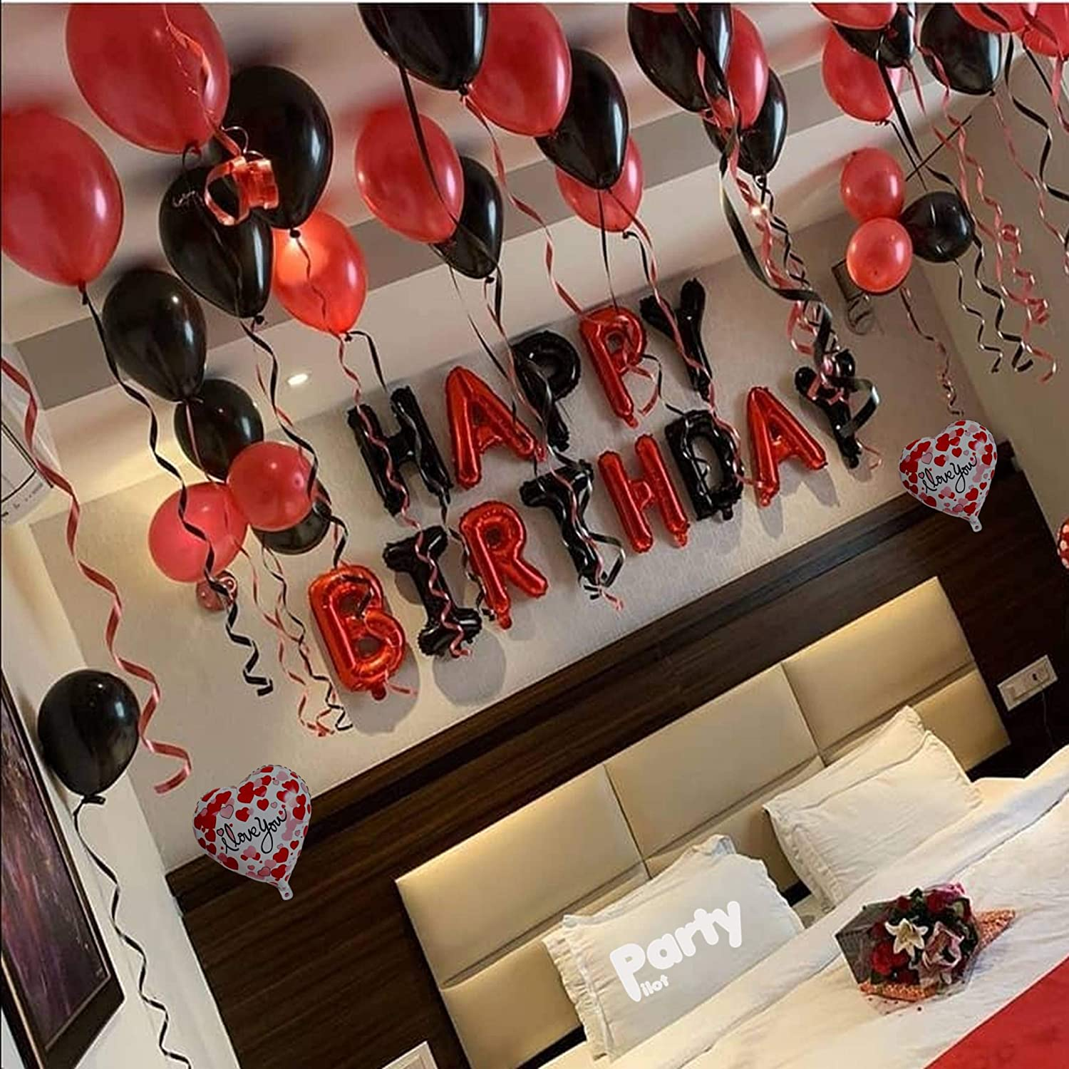 Party Pilot Happy Birthday Red Black Letter Foil Banner Surprise Decoration Combo For Husband Wife Couples Amazon In Toys Games