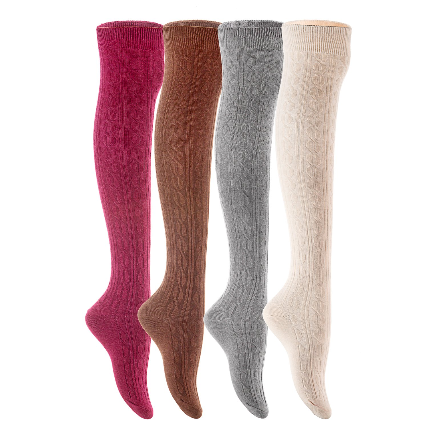 Lovely Annie Women's 4 Pairs Over Knee High Cotton Socks JMYP1024 Size 6-9 Style 05 (Coffee,Beige,Wine, Dark Grey)