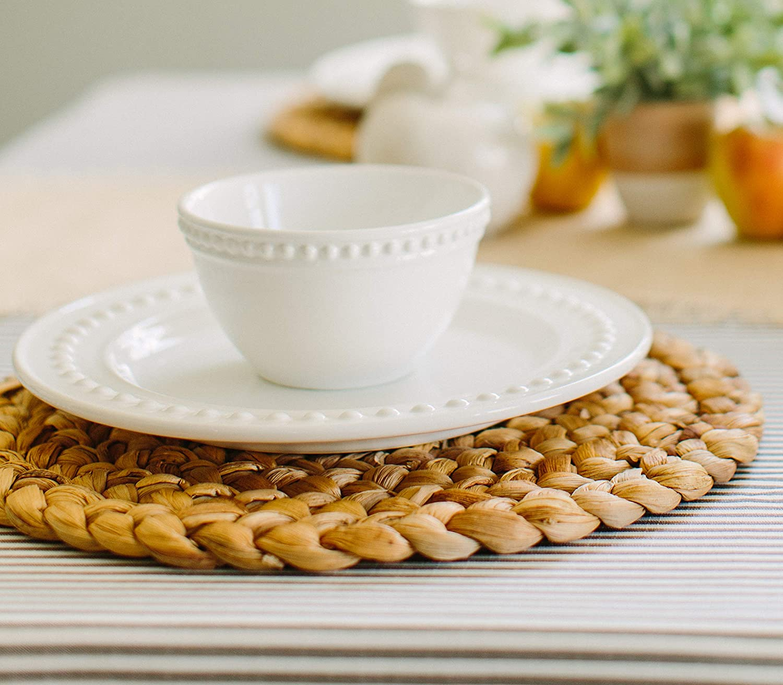 "Benson Mills Water Hyacinth Braided Placemat Set of 4 (Natural, 15"" Round): Home & Kitchen"
